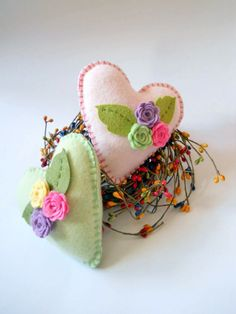 Hearts and Flowers Pillows  Two Pastel Wool by ThePineappleCatz, $23.00