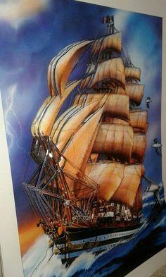 Solmaz hanımın yelkenli çalışması-Sümbül Eldek Paper Art, Paper Crafts, Decoupage Art, Watercolor And Ink, Easy Drawings, Shadow Box, Altered Art, Sailing Ships, Painting