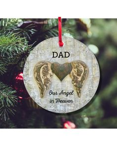 Christmas Themes, Christmas Crafts, Christmas Ornaments, Personalized Memorial Gifts, Christmas In Heaven, In Memory Of Dad, Bereavement Gift, Wings Design, Losing A Child