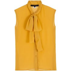ELIE SAAB Chiffon Pussybow Sleeveless Blouse (€645) ❤ liked on Polyvore featuring tops, blouses, shirts, elie saab, bow collar blouse, yellow sleeveless top, chiffon blouse, yellow blouse and pussy bow blouses