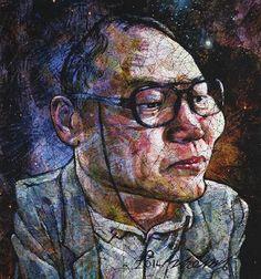 YiPyung Kim 김이평 // 'Portrait of Kim, Un Bae' '김언배의 초상' // 95x100cm, Reactive dye, Acid dye, Silk, 2014