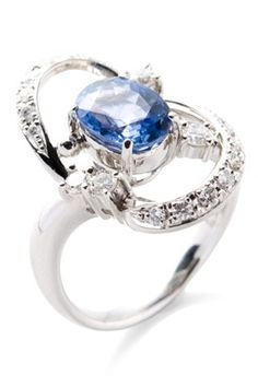 Estate Jewelry Platinum Diamond & Sapphire Ring - Size 7.5