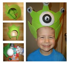 Alien hat. I made this with a felt covered paper plate with elastic hot glued on.