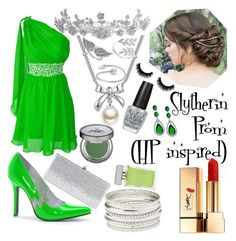 """""""Slytherin Prom (Hp inspired)"""" by n-butterfly on Polyvore featuring Ellie Shoes, Jimmy Choo, Bling Jewelry, MBLife.com, BERRICLE, Midsummer Star, Charlotte Russe, Yves Saint Laurent, Urban Decay and David Yurman"""
