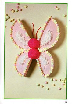Butterfly cake - my mom used to make this exact same butterfly cake when we were kids.this picture was part of a cake book we would get to choose from for our birthdays Kids Butterfly Cake, Butterfly Birthday Party, Birthday Pins, First Birthday Cakes, Birthday Parties, Kids Cookbook, Unique Desserts, Occasion Cakes, Childrens Party