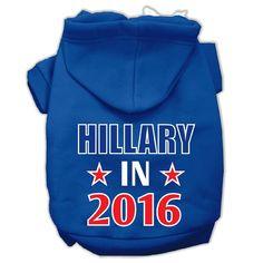 Hillary in 2016 Election Screenprint Pet Hoodies Blue Size XS (8)