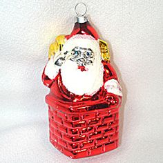 Santa Claus in Chimney West Germany Glass Christmas Ornament