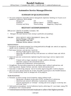 idea for automotive manager resume format - Handyman Resume