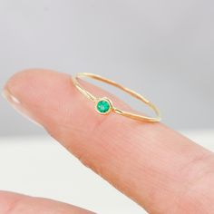 Emerald+Ring+in+14k+Gold+Thin+Green+AAA+Emerald+by+ScarlettJewelry,+$274.00