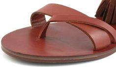 Sandali infradito in pelle di color cuoio,Elegante lavorazione ad intreccio sul tallone,Suola in cuoio, tacco 0,5 cm,MALI CUOIO,Yijie | Collezione