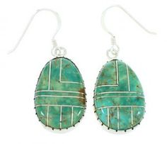 Turquoise Inlay Sterling Silver Hook Dangle Earrings BW74292 http://www.silvertribe.com