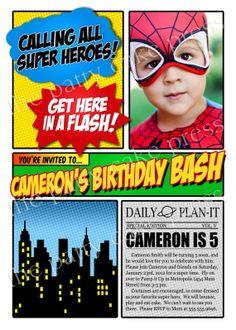 Super Hero Photo Invitation Birthday Party Custom Printable Digital File Spiderman Superman Batman Captain America Superhero Squad For Super Hero Loving Kids, Superhero Party Invitations, Spiderman Birthday Invitations, Photo Invitations, Birthday Invitation Templates, Birthday Party Invitations, Invitation Maker, Invitation Ideas, Invitation Wording, Printable Invitations