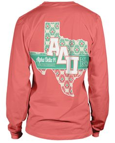 Alpha Delta Pi State T-shirt Kappa Alpha Theta, Alpha Chi Omega, Sorority And Fraternity, Alpha Delta, Team T-shirts, Texas Shirts, Greek Shirts, Dance Shirts, Cute Shirts