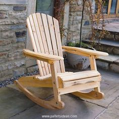 Here comes again an Adirondack inspired wood pallet rocking chair. Its curvy and sloppy seat gives you full freedom to sit in a perfectly comfortable manner, while the huge and wide armrest ensure additional comfort, and curvy rockers on the base fulfill all the requirements of a perfect wooden pallet rocking chair.