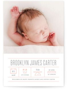 Fun And Modern. Modern, Simple And Minimalist, Pink Birth Announcement Cards From Minted By Independent Artist Roxy Cervantes. Birth Announcement Photos, Birth Announcement Girl, Newborn Birth Announcements, Baby Posters, Birth Photography, Baby Birth, Newborn Pictures, Baby Pictures, Letterpress