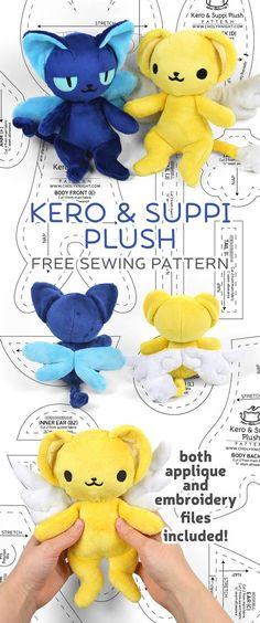Plushie Patterns, Softie Pattern, Animal Sewing Patterns, Sewing Patterns Free, Free Sewing, Sewing Tutorials, Free Pattern, Clay Tutorials, Cardcaptor Sakura