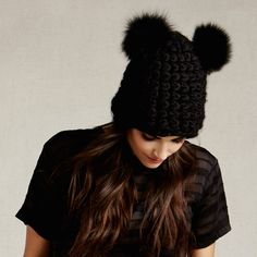 The Mickey Mouse hat is as fun as its name suggests. The New York based designer Mischa Lampert hand knits and dyes her luxurious, chunky hats from premium merino wool and adorns them with extra large fox fur pom poms from a Finish craftsman who only works with leather and fur. The Mickey Mouse boasts two of these pom poms, making for an eye catching winter look.  www.zady.com/products/mischa-lampert-mickey-mouse - via @zadypins   #zady #style #fashion #mischalampert