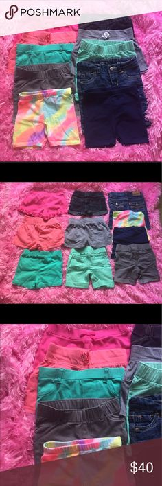 Mixed Lot size 2T girl's shorts (assorted brands) 10 pairs comfortable, soft, excellent used condition, very gently worn girls' shorts. All size 2T. Many brilliant, sherbet colors (dark pink, coral, seafoam greens, grey, jeans, navy, rainbow) Assorted brands, including Old Navy, Circo, Gymboree, Levi's, Koala Kids, etc. (Includes one pair from separate listing.) No stains, tears, holes. Comes from a smoke-free, cat-friendly household. Old Navy Bottoms Shorts