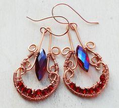 Maroon Red Crystal Copper Wire Wrap Chandelier Earrings Jeanninehandmade Jewelry #Jeanninehandmade #Wrap