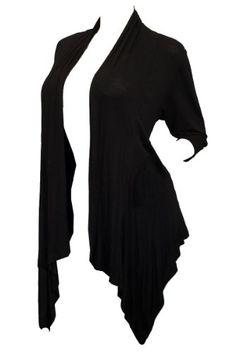 Plus Size Longline Drape Front Cardigan Black - http://cheune.com/a/33871731115505101