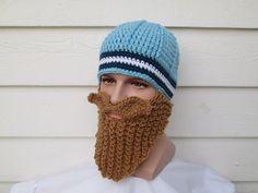Knitted long beard hat Beard Beanie Wild Man by Ritaknitsall
