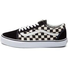 Vans Old Skool Chex Skate Shoe ($99) ❤ liked on Polyvore featuring shoes, sneakers, leather skate shoes, leather lace up shoes, vans sneakers, checkered sneakers and lace up shoes