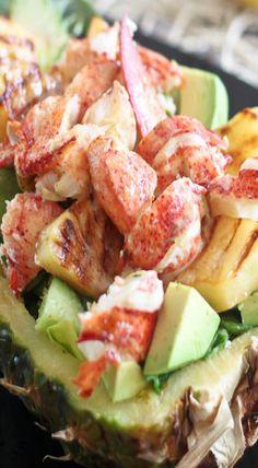 grilled pineapple lobster salad