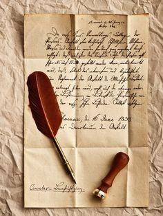 Vintage, перо, винтаж, ретро, письмо, строки, штемпель