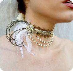 Renaissance Choker - Beaded Rhinestone Burlesque Peacock Feather Collar - Downton Abbey