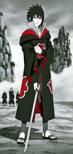 Sasuke as an Akatsuki Naruto Kakashi, Sasuke Uchiha Sharingan, Naruto Uzumaki Shippuden, Anime Naruto, Sasuke Akatsuki, Naruto Art, Gaara, Anime Guys, Sasuke Sarutobi