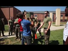 Marines with Marine Wing Support Squadron 274, 2nd Marine Air Wing perform a combat fitness test for the student of Stewards Creek High School during Marine Week 2016 in Nashville, TN.