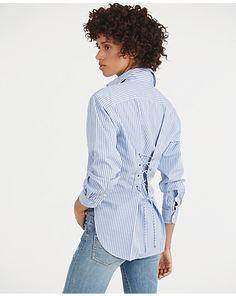 Lace-Up-Back Cotton Shirt...alter a man's gingham shirt