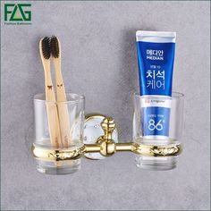 FLG New Modern Accessories Luxury European Style Golden Copper Toothbrush Tumbler&Cup Holder Wall Mount Bath Product 21202-2W #Affiliate