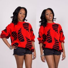 Vintage Red Abstract Knit Sweater Pullover by lapetitemarmoset, $28.99