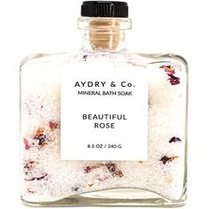 Beautiful Rose Mineral Bath Soak ($24) ❤ liked on Polyvore featuring beauty products, bath & body products, body cleansers, bath & beauty, bath salts & scrubs, pink and soaps