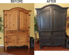 Updated old rustic pine armoire with black paint, distressing & wax