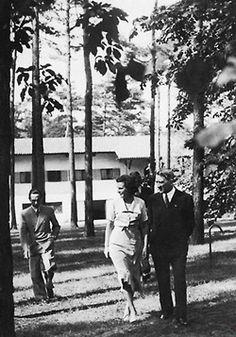 Adolf Hitler, Leni Riefenstahl and Joseph Goebbels talking a walk