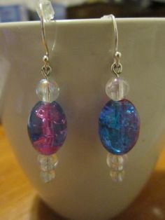 Blue and Fuchsia Resin Bead/White Glass by BeadazzlingButterfly, $15.00