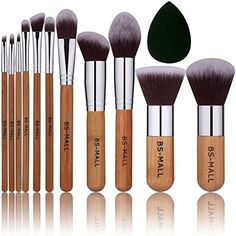 BS-MALL Bamboo Silver Premium Synthetic Kabuki Makeup Brush Set Cosmetics Foundation Blending Blush Face Powder Brush Makeup Brush Kit Plus Black Teardrop Makeup Blender Sponges (11pcsbamboo) -- You can find out more details at the link of the image. (This is an affiliate link) #MakeupBrushesTools