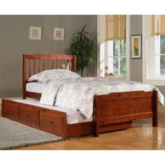 Elise Captain Twin Bed with Trundle, Mahogany