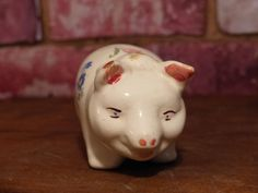 VINTAGE CERAMIC PIG /  1940's -50's by JusFunkinAround on Etsy