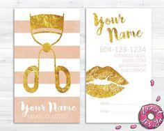 Rose Gold Custom Makeup Artist and Cosmetologist by aDonutDesign Makeup Artist Logo, Freelance Makeup Artist, Makeup Business Cards, Business Card Logo, Card Templates Printable, Name Card Design, Make Up Inspiration, Marca Personal, Name Cards