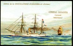 "https://flic.kr/p/8Vjxwt | French Tradecard - Mexican Warship ""General Zaragoza"" 