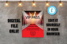 Editable VIP PASS invitation 5x7 Graduation Hollywood party | Etsy Vip Pass, Hollywood Party, 40 Years, Sweet 16, Birthday Invitations, Graduation, Digital, Etsy, Sweet Sixteen