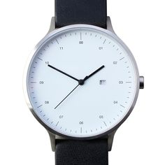 Instrmnt 01-C (brushed/black) watch by Instrmnt. Available at Dezeen Watch Store: www.dezeenwatchstore.com