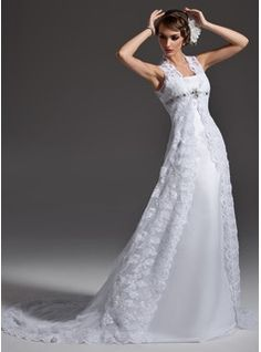 A-Line/Princess Scoop Neck Chapel Train Satin  Lace Wedding Dresses With Lace  Beadwork (002001257)
