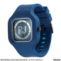 Blue Modern Look with Custom Monogram Watch