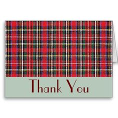 Tartan Plaid Christmas Thank You greeting cards