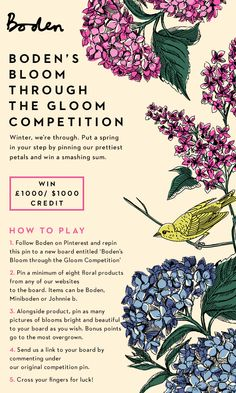 Enter our Bloom Through the Gloom Contest and win a smashing sum. For full Ts and Cs, click here > http://www.boden.co.uk/help/bloom-through-the-gloom-terms.htm