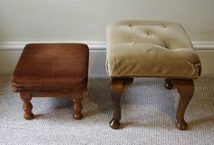 Before photo of the small curved leg footstool (right)
